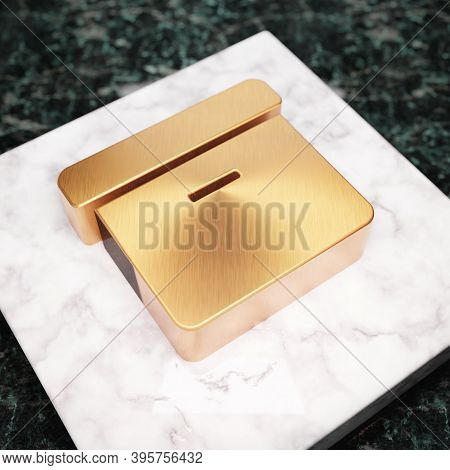 Archive Icon. Bronze Archive Symbol On White Marble Podium. Icon For Website, Social Media, Presenta