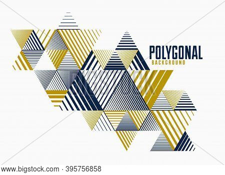 Polygonal Low Poly Vector Abstract Design, Artistic Retro Style Background For Ads Or Prints, Cover