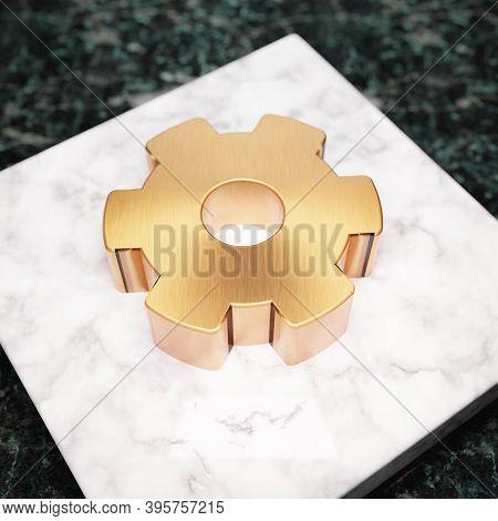Cog Wheel Icon. Bronze Cog Wheel Symbol On White Marble Podium. Icon For Website, Social Media, Pres
