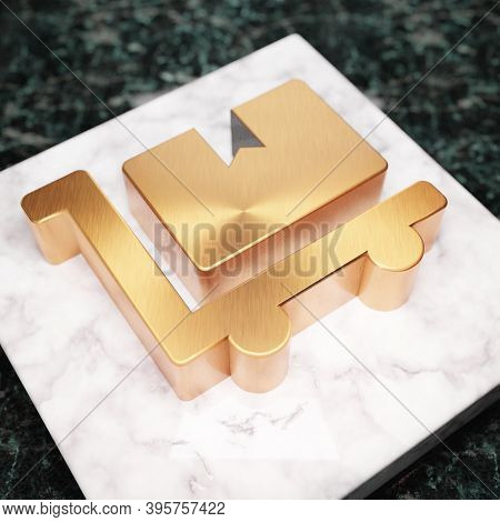 Dolly Flatbed Icon. Bronze Dolly Flatbed Symbol On White Marble Podium. Icon For Website, Social Med