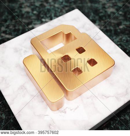 Fax Icon. Bronze Fax Symbol On White Marble Podium. Icon For Website, Social Media, Presentation, De