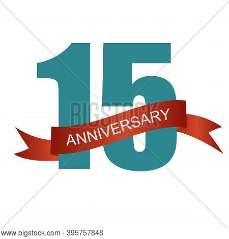 Fifteen 15 Years Anniversary Label Sign For Your Date. Il