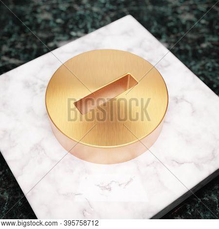 Minus Circle Icon. Bronze Minus Circle Symbol On White Marble Podium. Icon For Website, Social Media