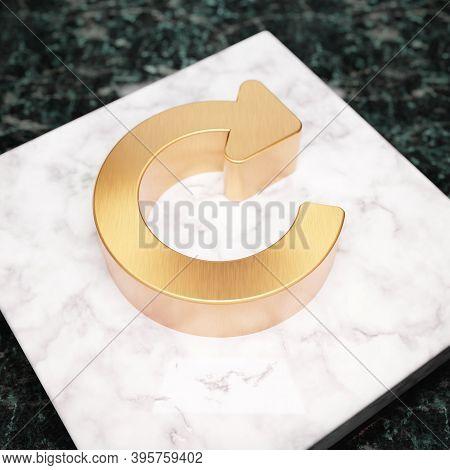 Redo Icon. Bronze Recycle Symbol On White Marble Podium. Icon For Website, Social Media, Presentatio