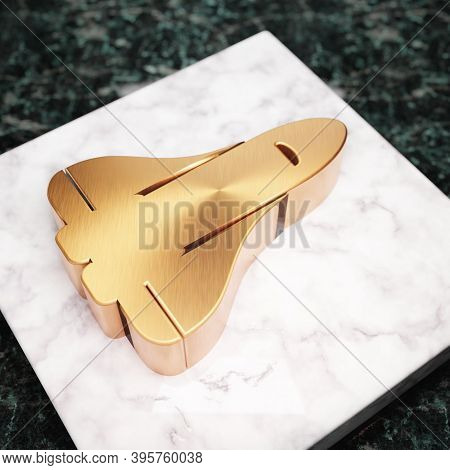 Space Shuttle Icon. Bronze Space Shuttle Symbol On White Marble Podium. Icon For Website, Social Med