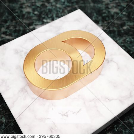 Toggle Off Icon. Bronze Toggle Off Symbol On White Marble Podium. Icon For Website, Social Media, Pr