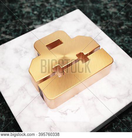 Toolbox Icon. Bronze Toolbox Symbol On White Marble Podium. Icon For Website, Social Media, Presenta
