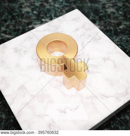 Venus Icon. Bronze Venus Symbol On White Marble Podium. Icon For Website, Social Media, Presentation