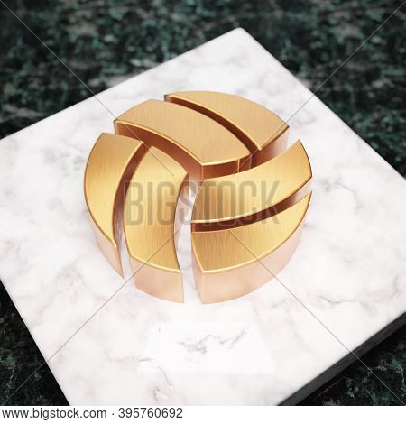 Volleyball Ball Icon. Bronze Volleyball Ball Symbol On White Marble Podium. Icon For Website, Social