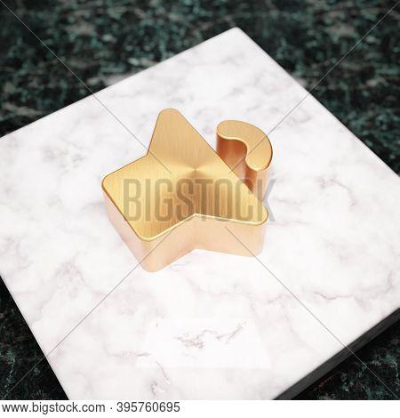 Volume Down Icon. Bronze Volume Down Symbol On White Marble Podium. Icon For Website, Social Media,