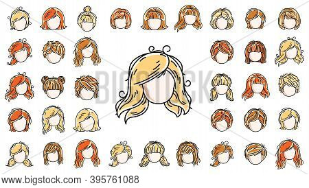 Woman Hairstyles Heads Vector Illustrations Set Isolated On White Background, Girl Attractive Beauti