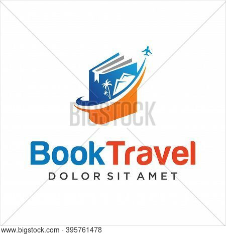 Travel Book Logo Vector Inspiration Stock Vector. Book And Airplane Logo Combination. Library And Tr