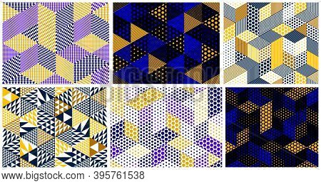 Seamless Dotted Cubes Vector Backgrounds Set, Dots Boxes Repeating Tile Patterns, 3d Architecture An