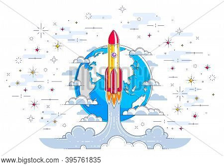 Rocket Start From Earth To Space To Discover Undiscovered, Surrounded By Satellites, Stars And Other