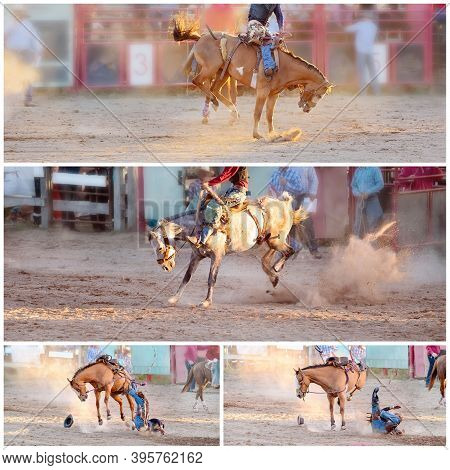 Collage Of Images Of Bucking Broncos Riding Competition At A Country Rodeo