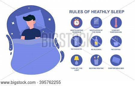 Rules Of Healthy Sleep. Concept Of Bedtime Routine For Good And Stable Sleep At Night. Man Sleeping