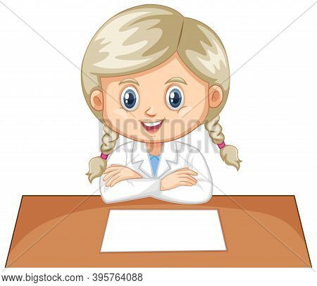 Girl Wearing Lab Gown On White Background
