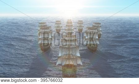 Old Ships Fleet At Sea