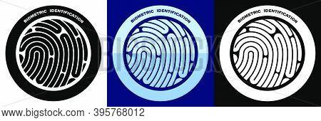 Person Digital Fingerprint Icon For Mobile Identification Apps. Biometric Identification Of Human Da