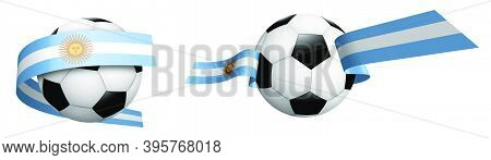Balls For Soccer, Classic Football In Ribbons With Colors Argentina Flag. Design Element For Footbal
