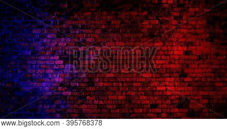 Empty Space Of Vintage Grunge Brick Wall Texture Background With Red And Blue Lighting Effect.
