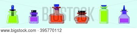 Set Of Chemical Glass Bottle. Cartoon Icon Design Template With Various Models. Modern Vector Illust