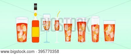 Set Of Spritz Glass. Cartoon Icon Design Template With Various Models. Modern Vector Illustration Is