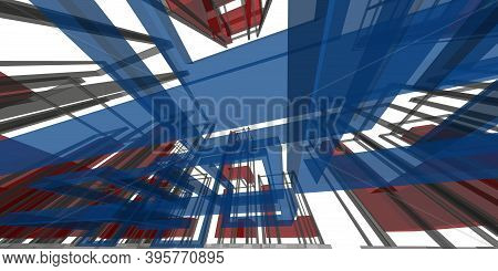 3D Illustration Architecture Building Perspective Lines, Business Modern Urban Architecture Abstract