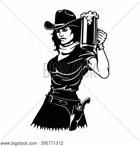 Cowgirl - Girl And Beer, Wild West, Cowboy Silhouette, Vector Clip Art, Cut Ready