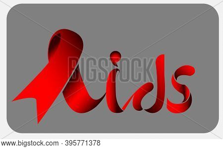 World Aids Day, Aids Awareness Red Ribbonto Form Lettering Aids. World Aids Day Concept. Vector Illu