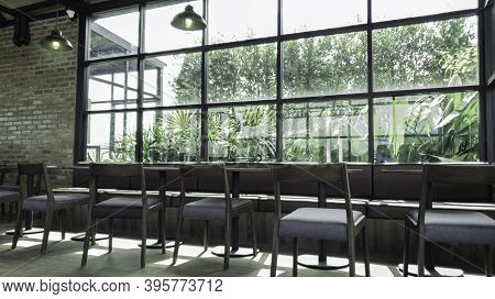 Coffee Shop Or Cafe Restaurant With Abstract Bokeh Light Image Background, Quiet And Chill Cafe Shop