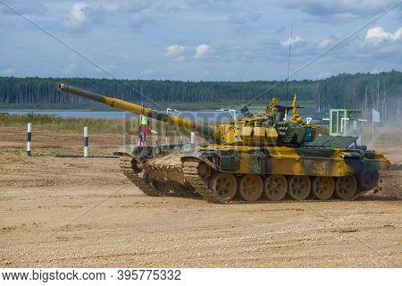 Alabino, Russia - August 27, 2020: T-72b3 Tank Of The Kazakhstan Team On The Tank Biathlon Track. In