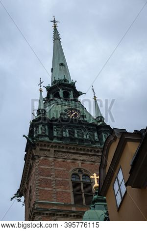 Church Of St. Gertrude. German Church, Spire And Clock. Stockholm, Sweden.