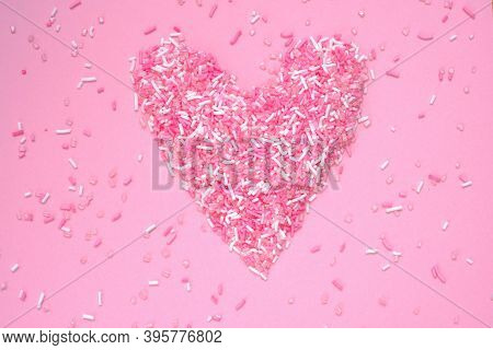Heart Pink. Valentine's Day Holiday. Symbol Of Love, Romance, Family.sweet Edible Heart Made From Pi
