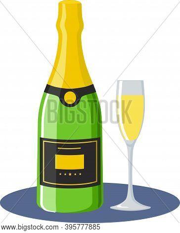 Champagne Bottle With Glass, Flat Design Modern Vector Illustration. Unopened Champagne Bottle. Vect