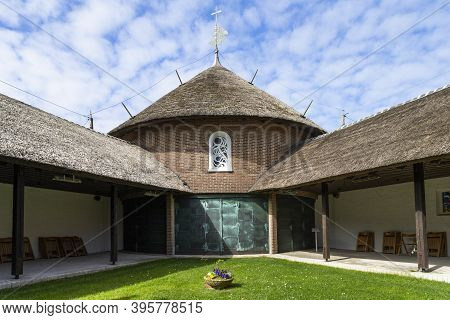 The Photo Shows The Island Church St. Nikolaus On The North Sea Island Baltrum In Germany