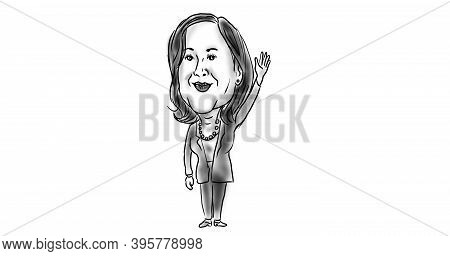 Nov 21, 2020, Auckland, New Zealand: Illustration Of American Vice President Elect Democrat  Kamala