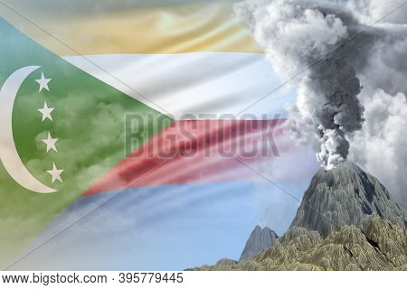 Stratovolcano Blast Eruption At Day Time With White Smoke On Comoros Flag Background, Troubles Becau