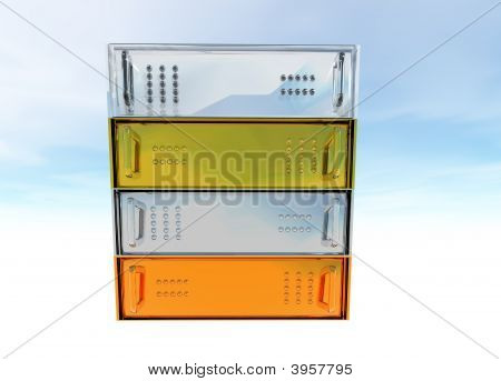 Gold Silver Bronze Glass Diamond Server Rack Hosting