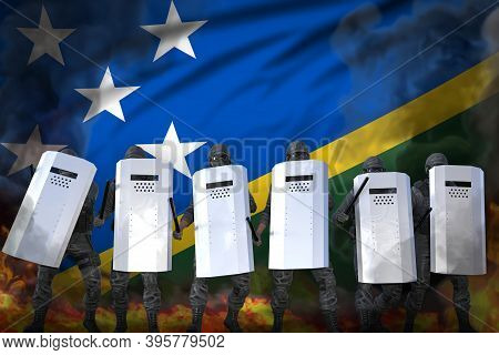 Solomon Islands Police Swat Protecting Law Against Revolt - Protest Fighting Concept, Military 3d Il