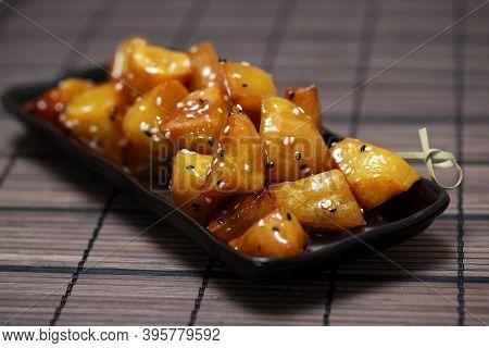 Candied Sweet Potato, Daigaku Imo, Traditional Japanese Food Deep Fried Sweet Potato Coated With Swe