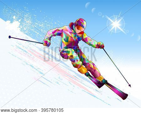 A Male Skier Goes Down On Skis Against The Backdrop Of The Sky And The Sun. Alpine Skier On A Snowy