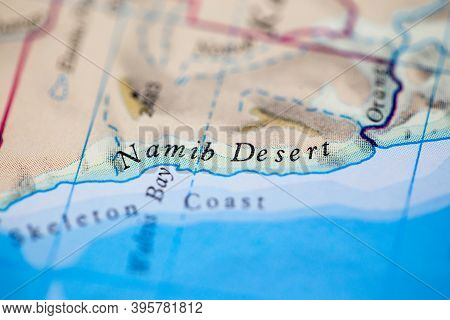 Shallow Depth Of Field Focus On Geographical Map Location Of Namib Desert Namibia Africa Continent O