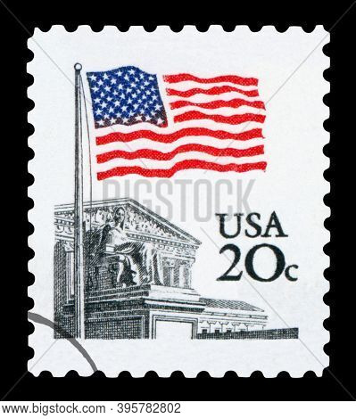 United States - Circa 1980: A Stamp Printed In United States Shows Flag Over Supreme Court Issue, Ci