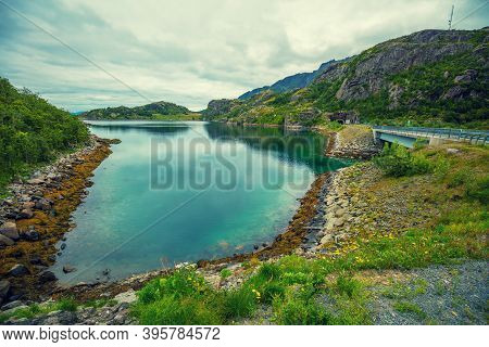 View Of The Fjord. Rocky Seashore.  Road Along The Fjord. Beautiful Nature Norway.
