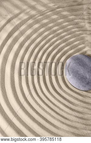 Circles On The Sand And Round Stones In The Rock Garden, For Relaxation And Spiritual Harmony. Zen G
