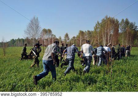 Jurga, Siberia, Russia - June 7,2011:hostages Taken Prisoner. Courses For War Correspondents \