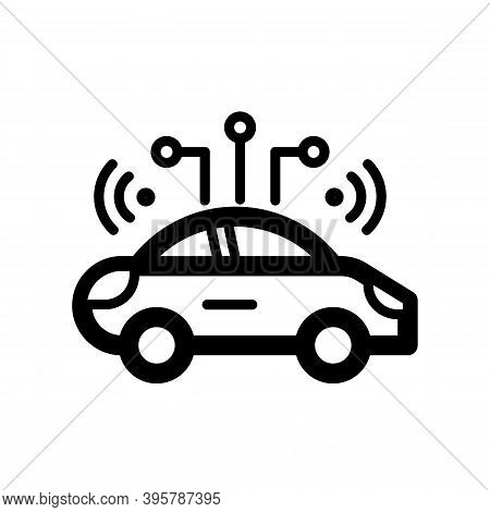 Car Emits A Signal. Autopilot Car Concept Icon Isolated On White Background. Best For Future Transpo
