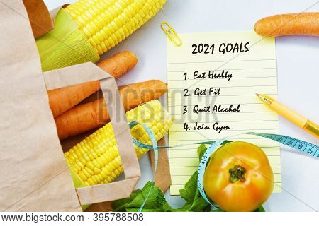 2021 Goals Text With Sticky Notes, Vegetables, New Year Goal, Business Motivation