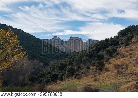 Peñas De Herrera During Sunset From The Town Of Talamantes, In Aragon, Spain
